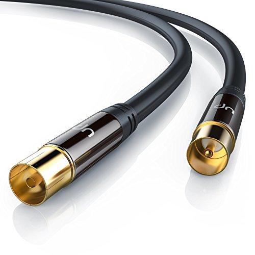 Uplink - 5m 135dB HDTV Antennenkabel 75 Ohm | Premium Koaxialkabel | Koax Stecker > Koax Kupplung | DVB-T und DVB-T2, Radio (UKW/ DAB / DAB+) | robuste Vollmetallstecker | Abschirmmaß 135dB | hochdichte 4-fach Schirmung | schwarz/gold