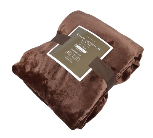 Qbedding All Seasons Super Soft Flannel Queen Blanket,Chocolate front-653844