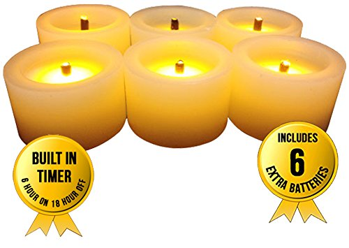 Flameles Candles,LED Battery Powered Candles ~ Real Wax Mini Votive Black Wick Timing Function Measures 1