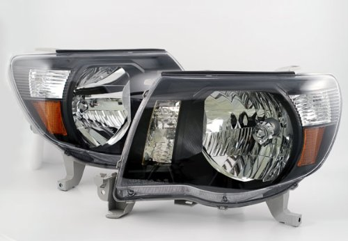 Depo 312-1186P-US2 Toyota Tacoma Headlight with Black Bezel, One Pair (Toyota Tacoma Black Headlights compare prices)