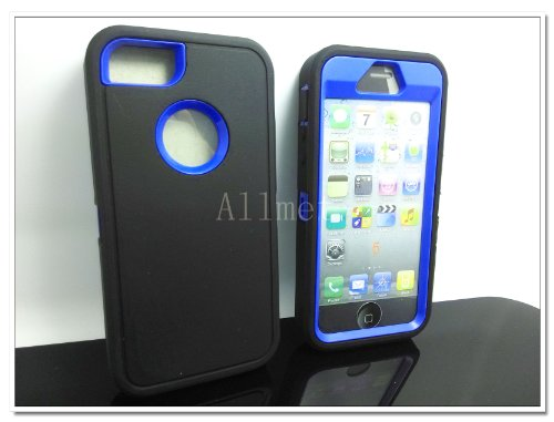 $$  Multi Color Iphone 5 5S Body Armor Silicone Hybrid Cove Hard Case, Three Layer Silicone PC Case Cover for iPhone 5 5S (Black+Dark Blue)