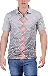 EURO OPEN Men's Polyester Tshirt (EEPTS15FS401-GH-L)