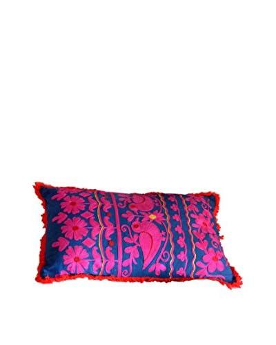 Lumbar Rabari Pillow, Navy/Pink/Red