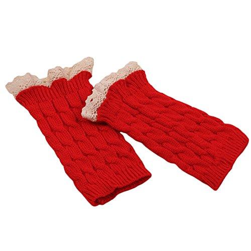 Sannysis Spitze Strick Fringe warme Handschuhe -