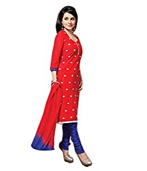 Lifestyle Women's Cotton Unstitched Dress Material (162031894283_Red_Large)