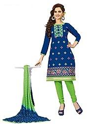 Venisa Pure Cambric Cotton Blue Color Salwar Suit Dress Material