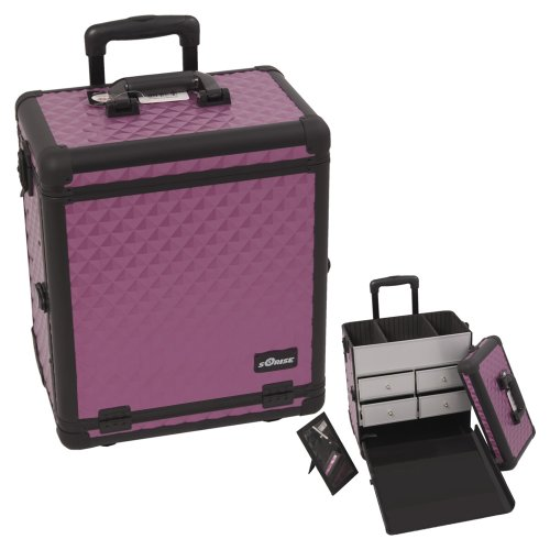 Sunrise Purple Diamond Pattern Finish With Black Interchangeable Aluminum Trim Professional Rolling Aluminum Cosmetic Makeup Case With Split Drawers (Mac Pink Split Eye Shadow compare prices)
