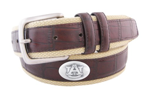 NCAA Auburn Tigers Croc Leather Webbing Concho Belt, Brown, 42-Inch at Amazon.com