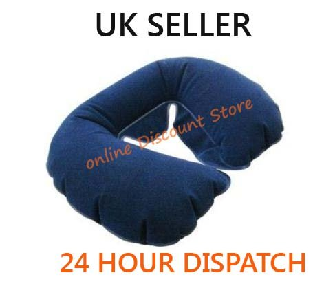 INFLATABLE NECK REST TRAVEL PILLOW HEAD REST CUSHION SUPPORT - FLOCK LINED