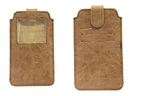 Jo Jo A10 Classic Leather Carry Case Pouch Wallet S View For HP Slate6 VoiceTab Tan