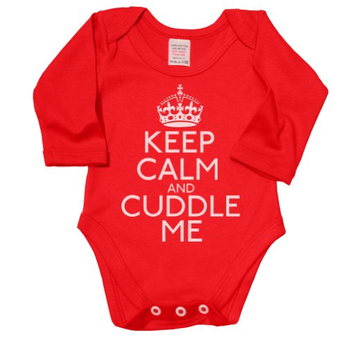 Keep Calm And Cuddle Me Funny Baby Boy/Girl Long Sleeve Babygrow Vest front-44782