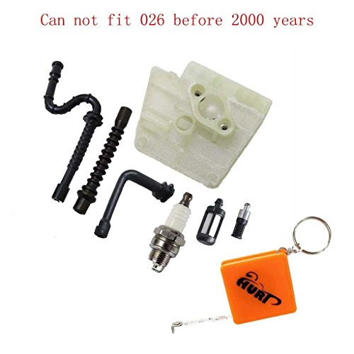 HURI Air Filter Fuel Line Oil Line Spark Plug Fuel Filter for Stihl MS260 MS240 024 026 Chainsaw(Can Not Fit 024 026 Before 2000 Years)