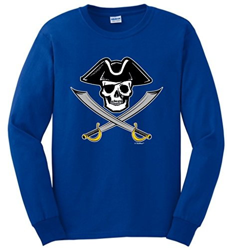 [Funny Sailing Gift Pirate Jolly Roger Captain Skull Crossed Swords Long Sleeve T-Shirt Medium Royal] (Authentic Pirate Coats)