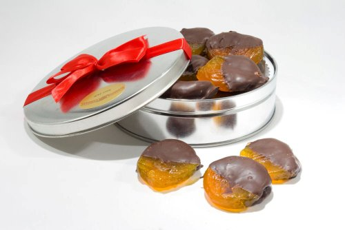Chocolate Dipped Glazed Apricots Gift Tin