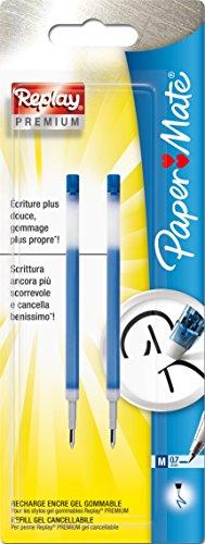 paper-mate-replay-premium-recharge-stylo-gel-effacable-pointe-moyenne-bleu-lot-de-2