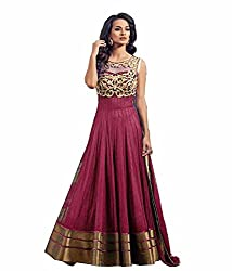 Pure Fashion Women's georgette gown Maroon (rk_092)