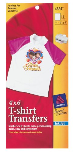 Avery Light T-shirt Transfers for Inkjet Printers, 4 x 6-Inches, White, Pack of 15 (4384)