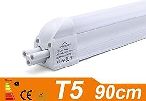 2 X Auralum® T5 12W 3ft(90cm) 72LEDS SMD 2835 1100 Lumens Fluorescent Light LED Tube Warm White(2800-3200K) Energy Saving Office Hospital School Ceiling Lights for Indoor Lighting Milky Cover from Auralum