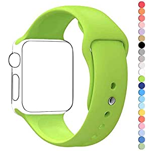 Apple Watch Band, HuanlongTM Soft Silicone Sport Style Replacement Iwatch Strap for Apple Wrist Watch (Green 38mm S/M)