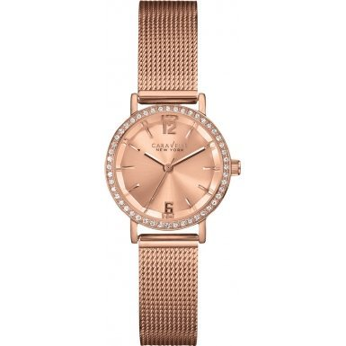 Caravelle New York 44L158 Ladies Crystal Rose Gold Steel Bracelet Watch