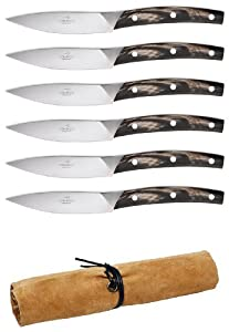 Consigli Falorni 6-Piece Buffalo Horn Handle Steak Knife with Leather Case, 4-1/3-Inch Blade
