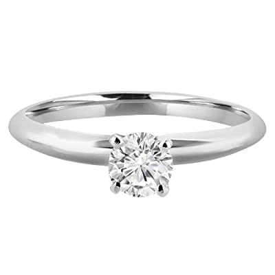 1/4 CT Solitaire Round Brilliant Cut Diamond Solitaire Engagement Ring in 14K White Gold