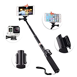 kootek handheld monopod selfie stick self portrait pole with remote shutter button. Black Bedroom Furniture Sets. Home Design Ideas