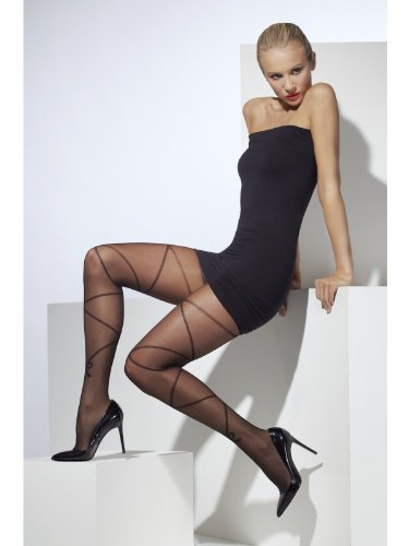 Fever Women's Sheer Tights with Cross and Bow Print In Display Box, Black, One Size
