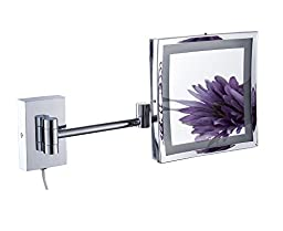Cavoli Bathroom Makeup Mirror with LED , Adjustable,Wall Mount 3x Magnification, Chrome Finish (9-inch,3x,LED)