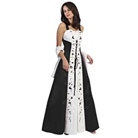 Black white elegant two tone bridal gown