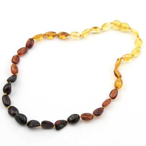 Certified Baltic Amber Teething Necklace for Baby (Rainbow Olive) - 1