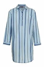 Champion Men\'s Westminster Polycotton Summer Striped Nightshirt (2XL) Blue
