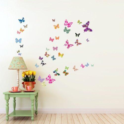 Decowall dw 1201 38 farfalle colorate adesivi da parete - Adesivi da parete camera da letto ...