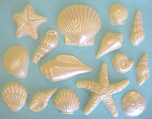 White Chocolate Seashell Cake Decorating Assortment #1, 48 chocolate seashells