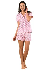 BedHead Flamingos Stretch Shorty Made in USA PJ Set