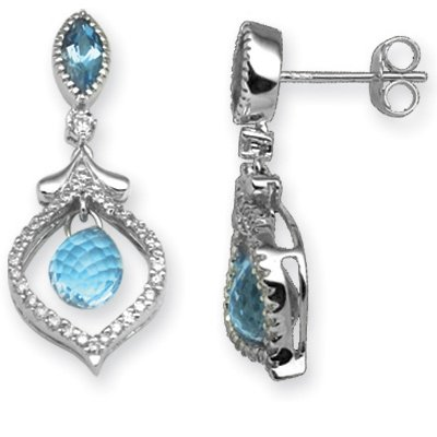 Jewelco London 18 Carat White Gold Diamond-31pts Blue Topaz-3.61ct Drop Earring