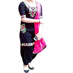 Reet Glamour Women 's Cotton Unstitched Black And Magenta Embroidered Punjabi Suit