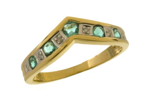 9ct Yellow Gold Ladies' Diamond and Emerald Ring Size H