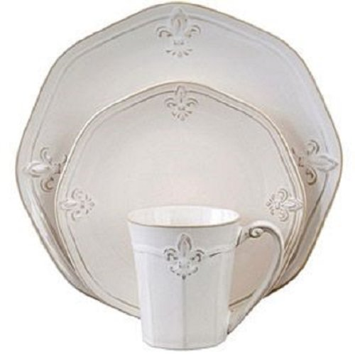 Cream Fluted Crest 16 Piece Stoneware Dinnerware Set Service for 4 (Cream Dinnerware Set compare prices)