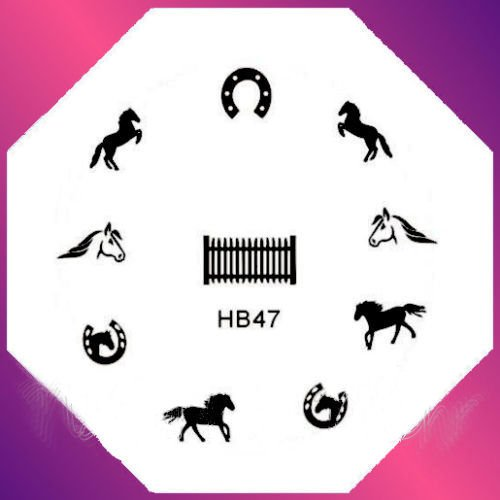 New Nail Art Stamping Image Design Plate - Horses