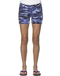 Ixia Women's 100% Cotton Lycra Royal Blue Chemo Printed Shorts(LISR174RBLUE_26)