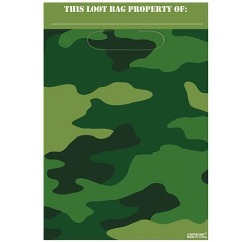 Camouflage Loot Bags 8ct