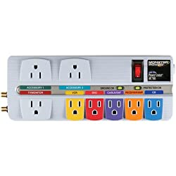 Monster AudioVideo PowerCenter AV 700 with Surge Protection and Color-Coded Outlets