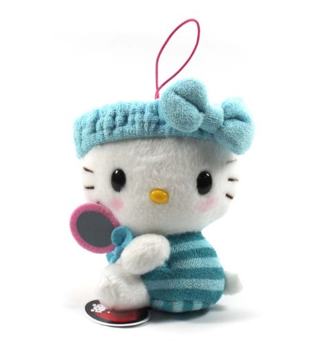 "Eikoh Hello Kitty Fresh Bath Time Plush Strap - 5"" Blue Mirror - 1"