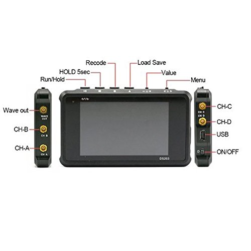 Signstek DSO203 ARM Pocket Portable Digital Oscilloscope Cortex M3 CPU 8M Hz Handheld Oscilloscope with Aluminum Black Case