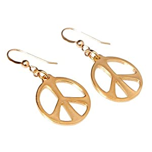 Medium Peace Symbol Gold-dipped Earrings on French Hooks