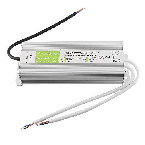 MVPower® elektronischer LED/ Halogen Trafo Wasserdicht Transformator Netzteil IP67 für 12V LED und Halogenlampen 170-264V AC Eingang,12 Volt DC Ausgang (100W)