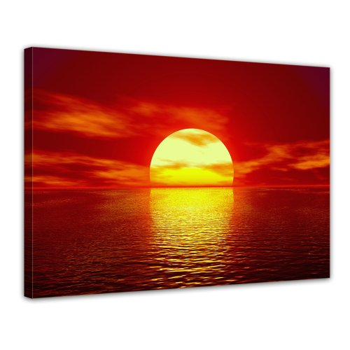 Bilderdepot24 Leinwandbild Sonnenuntergang - 70x50 cm 1 teilig - fertig gerahmt, direkt vom Hersteller