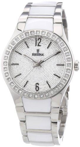Festina F16657/1 - Reloj analógico de cuarzo para mujer con correa de cerámica, color blanco