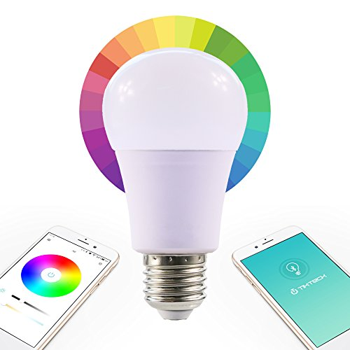 Bluetooth Smart Led Color Changing Dimmable Light Bulb RGB A19 E26 E27 Controlled by Apple iPhone iPad Android Mobile Phone 7.5W with Timer and Mood Setting (Wemo Led Lighting Starter Set compare prices)